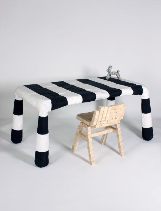 Stuffed Furniture striped table